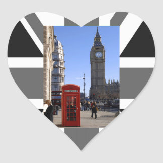 Big Ben and Red Telephone box in London Heart Sticker