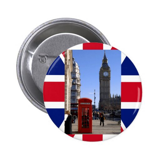 Big Ben and Red Telephone box in London Pins