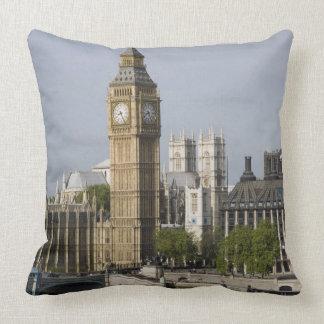 Big Ben and Thames River Throw Pillow