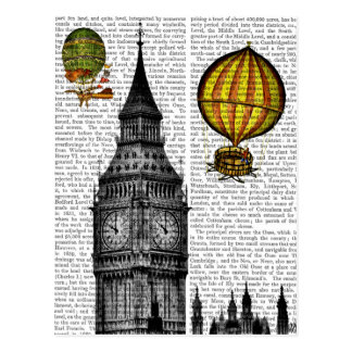 Big Ben and Vintage Hot Air Balloons Postcard