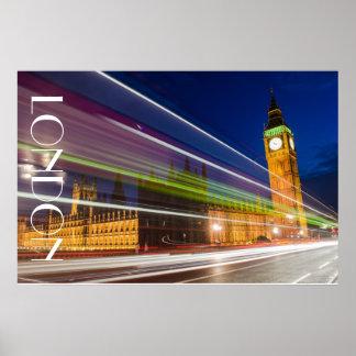 Big Ben at night, London Poster