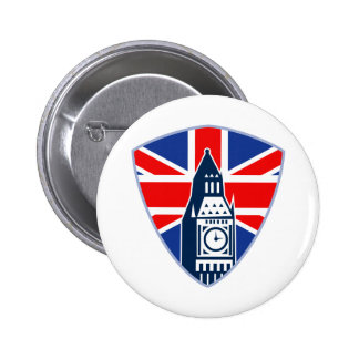 Big Ben British Flag Shield Pinback Button