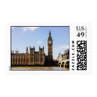 Big Ben, casas del parlamento, Londres Reino Unido Estampilla