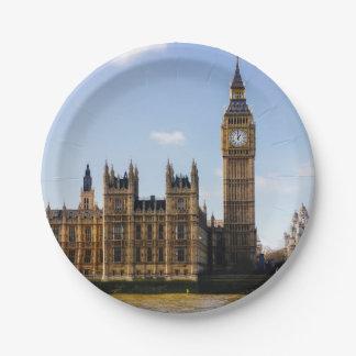 Big Ben, casas del parlamento, Londres Reino Unido Plato De Papel 17,78 Cm