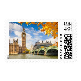 Big Ben con las hojas de otoño, Londres Sellos Postales