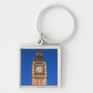 Big Ben en el capital británico Llavero Cuadrado Plateado