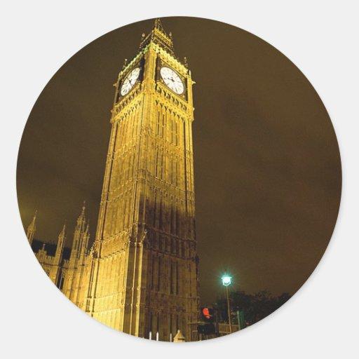 Big Ben en la noche Pegatina Redonda