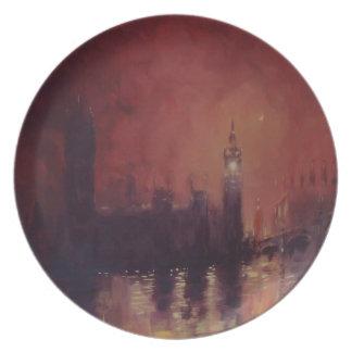 Big Ben en la placa de Londres de la noche Platos
