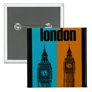 Big Ben en Londres, Ver. 2 Pin Cuadrada 5 Cm