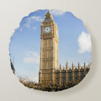 Big Ben en un día soleado, Londres Reino Unido Cojín Redondo