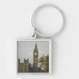 Big Ben House of Commons Silver-Colored Square Keychain