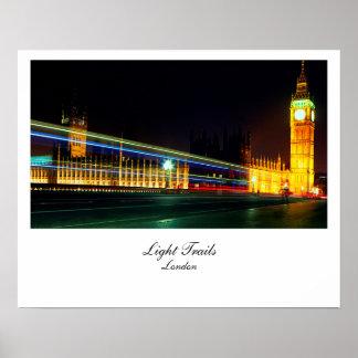 Big Ben light Trails London UK Posters