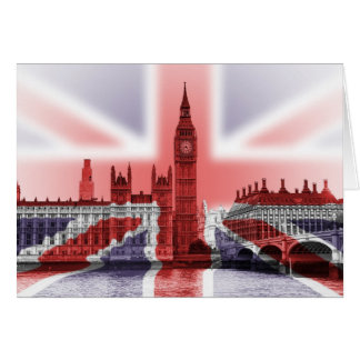 Big Ben London and Union Jack flag Card