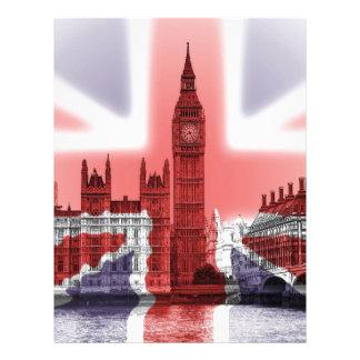 Big Ben London and Union Jack flag Letterhead