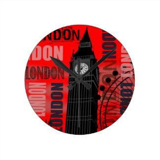 Big Ben London Collage Red Background Modern Round Clock