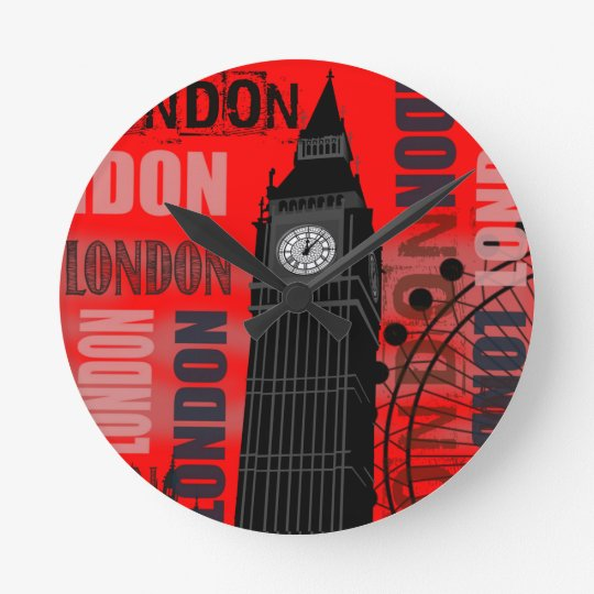 Big Ben London Collage Red Background, Big Round Clock