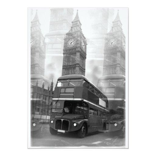 "Big Ben & London Red Bus Invitation 5"" X 7"" Invitation Card"