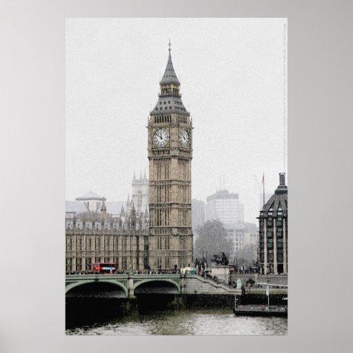 Big Ben - London (Watercolour effect) Poster