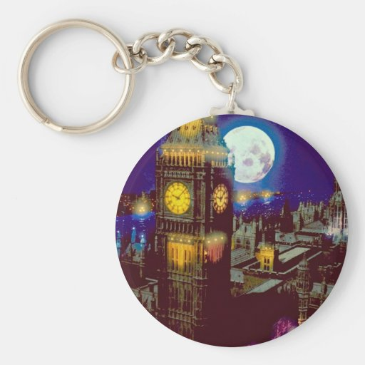 Big Ben, London with moon Key Chains