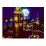 Big Ben, London with moon Post Cards
