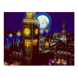 Big Ben, London with moon Postcard