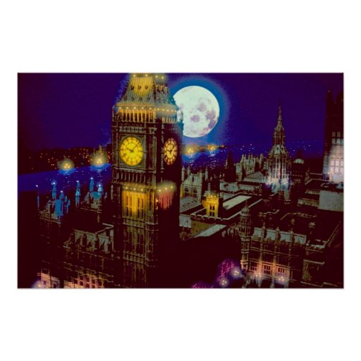 Big Ben, London with moon Poster