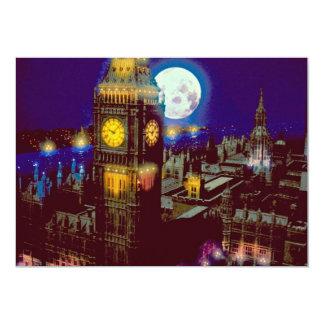 """Big Ben, Londres con la luna Invitación 5"""" X 7"""""""