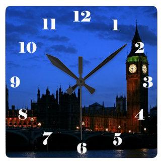 Big Ben Londres en la noche, con números Reloj Cuadrado