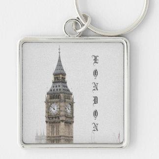 Big Ben Londres (Watercolour) Llavero Cuadrado Plateado