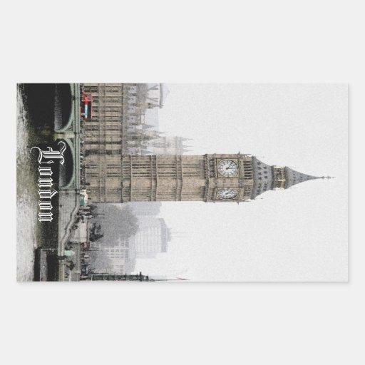 Big Ben Londres (Watercolour) Pegatina Rectangular