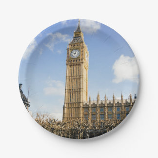 Big Ben On A Sunny Day, London UK Paper Plate