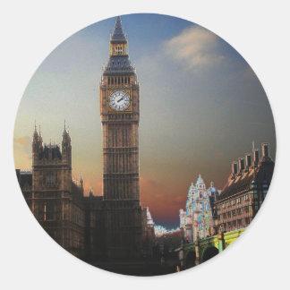 Big Ben Solarised de Londres Pegatina Redonda