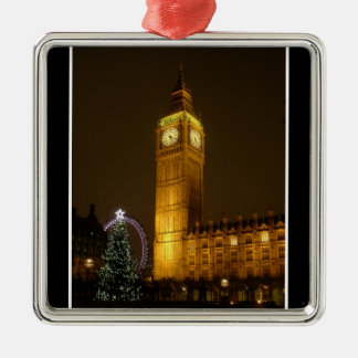 Big Ben ticks Goodnight Square Metal Christmas Ornament