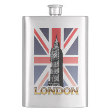 Big Ben Vintage Drawing Hip Flask