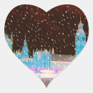 Big Ben Westminster Abbey London Red Skies Heart Sticker