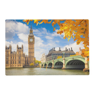 Big Ben With Autumn Leaves, London Laminated Placemat