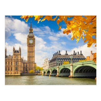 Big Ben With Autumn Leaves, London Postcard