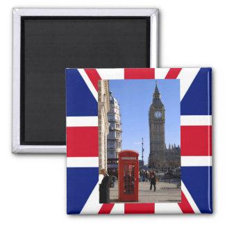 Big Ben y cabina de teléfonos roja en Londres Imán Cuadrado