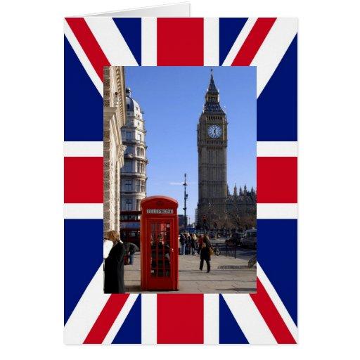 Big Ben y cabina de teléfonos roja en Londres Tarjeta De Felicitación