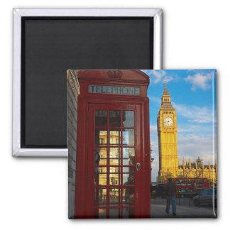 Big Ben y caja del teléfono Imán Cuadrado