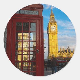 Big Ben y caja del teléfono Pegatina Redonda