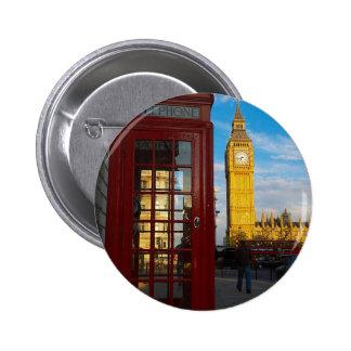 Big Ben y caja del teléfono Pin Redondo De 2 Pulgadas