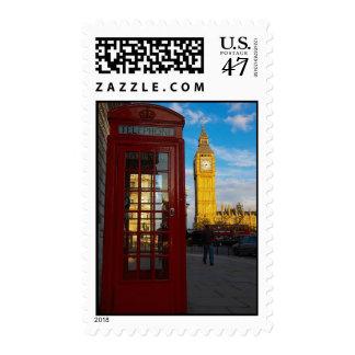 Big Ben y caja del teléfono Timbres Postales