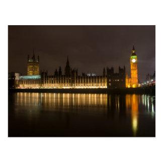 Big Ben y el parlamento en la noche Tarjeta Postal