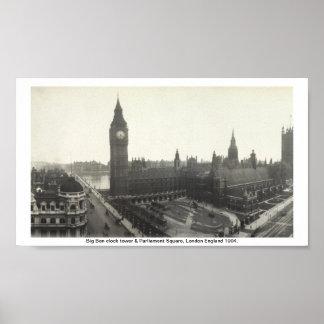 Big Ben y el parlamento Londres cuadrado 1904 Poster
