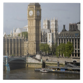 Big Ben y el río Támesis Azulejo Cuadrado Grande