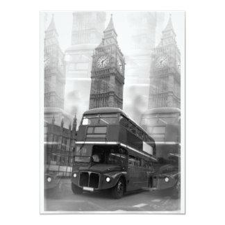 Big Ben y invitación roja del autobús de Londres