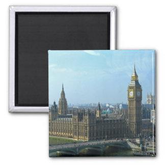 Big Ben y las casas del parlamento Londres Imán Cuadrado