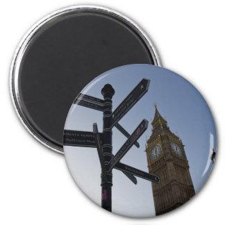 Big Ben y placa de calle Londres Imanes De Nevera