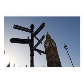 Big Ben y placa de calle Londres Postal